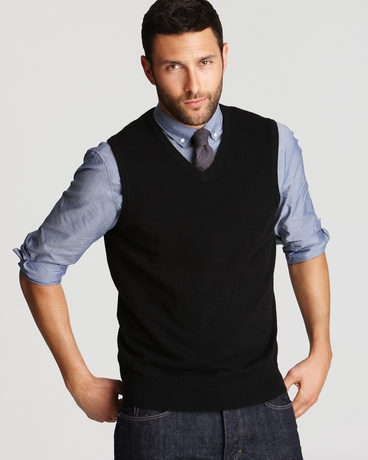 V Neck Sweater With Collared Shirt Underneath